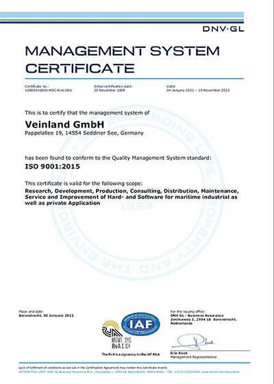 VEINLAND ISO certified 9001:2015